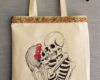 Amor Eterno Hand Painted Canvas Bag. Eternal Love Day Of The Dead Tote Bag.