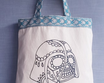 Darth Vader Day Of The Dead Canvas Tote Bag. Star Wars Dia De Los Muertos Canvas And Turquoise Lace Shoulder Canvas Bag.