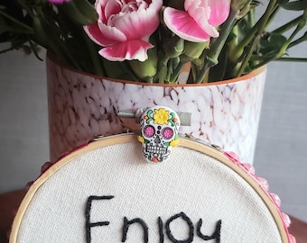 Embroidered Hoop. Mom's Gift Embroidered Hoop Art. Beautiful Embroidered Hoop. Enjoy Today Quote Hoop.