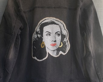 Maria Felix Hand Stitched Black Faded Trucker Jeans Jacket. Maria Felix With Embroidered Front Red Roses Denim Jacket.