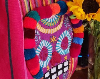 Handmade Embroidered Mexican Sugar Skull Pom-Pom Hot Pink Cotton Hand Woven Tote Bag.