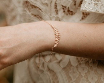WILLOW Leaf Bracelet, Bridal Bracelet, Leaf Bracelet, Boho Bracelet, Rose Gold Bracelet, Bridesmaid Bracelet, Dainty Bracelet, Vine Bracelet