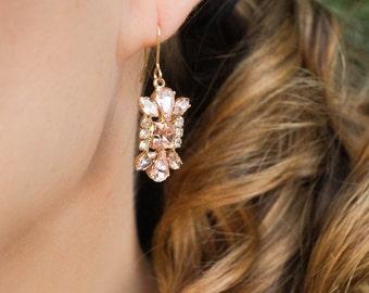 Pink Champagne Earrings, Blush Earrings, Wedding Jewelry, Ornate Earrings, Bridesmaid Gift, Pink and Gold Earrings, Bridal Earrings