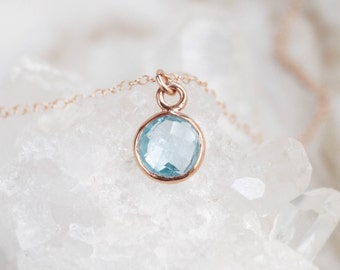 Blue Topaz Necklace, December Birthstone, Rose Gold Necklace, Birthstone Necklace, Simple Gemstone Necklace, Dainty Rose Gold Necklace