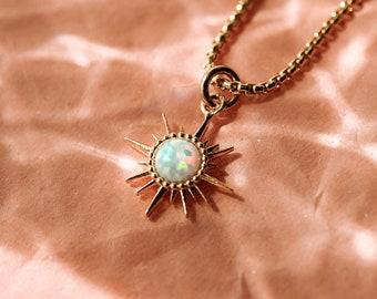 Soleil Necklace, Opal Sun Necklace, Dainty Gold Necklace, Opal Star Necklace, Dainty Sun Necklace, Gold Filled Necklace, Galaxy Necklace