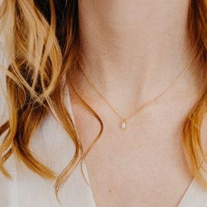 Dainty CZ Circle Necklace April Birthstone in Sterling Silver and 14K Gold Fill \u2022 NCZH1 Eternity necklace Tiny Diamond Disc Necklace
