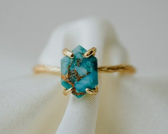 Sophia Ring, Turquoise Ring, Hexagon Ring, December Birthstone, Copper Turquoise Ring, Dainty Gold Ring, Rose Gold Ring, Silver Ring