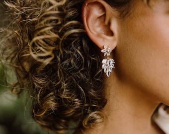 Grace Earrings, Art Deco Earrings, Fan Earrings, Bridal Statement Earrings, Wedding Jewelry, Crystal Earrings, CZ Leaf Earrings