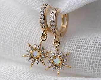 Opal Star Huggies, Gold Huggies, Tiny Hoop Earrings, Small Hoops, Dainty Hoop Earrings, Opal Earrings, Minimal Earrings, Celestial Hoops