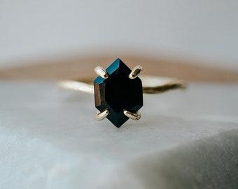 Karma Ring, Black Onyx Ring, Hexagon Ring, Twig Ring, Modern Ring, Bohemian Ring, Black Stone Ring, Rose Gold Onyx Ring, Art Deco Ring