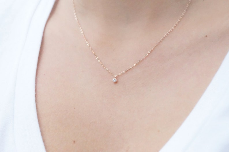 c9cc3a0e73b77 Tiny Rose Gold Necklace Dainty Rose Gold Necklace Rose Gold