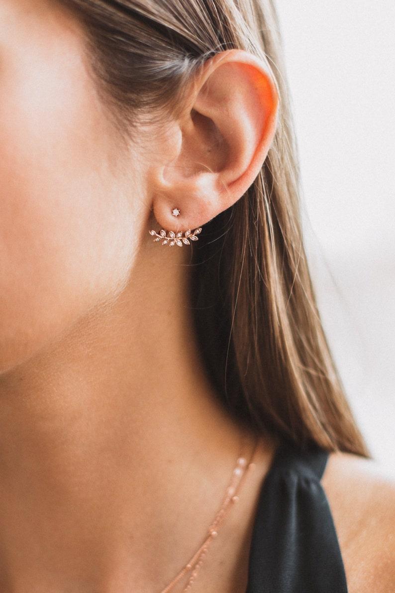 Leaf Ear Jackets Minimalist Earrings Silver Leaf Earrings Rose Gold