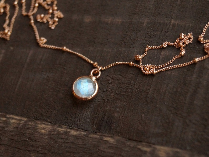 Tiny Moonstone Necklace Rose Gold Necklace Rose Gold image 0
