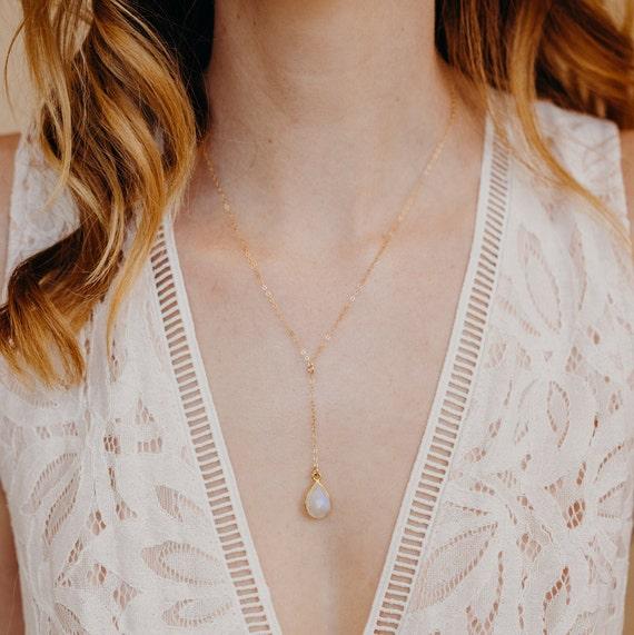 Lariat Necklace Y Necklace Drop Necklace Moonstone Grey Y Necklace Moonstone Choker Simple Y Necklace