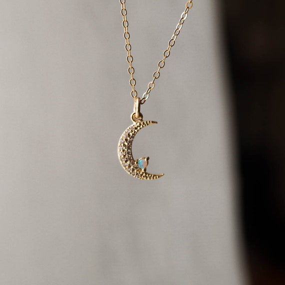 Celestial Jewelry Gold Moon Necklace Half Moon Necklace Opal Necklace Celestial Necklace Opal Moon Necklace 14k Gold Filled Necklace