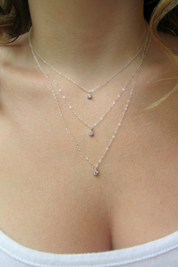 Silver Layered Necklace Triple Layered Dainty Silver Etsy