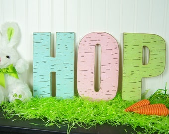 Rustic Easter Decorations Wood Easter Decor Wooden Easter Sign Easter Bunny Hop Sign Gift Easter Letters Easter Centerpiece Spring Decor