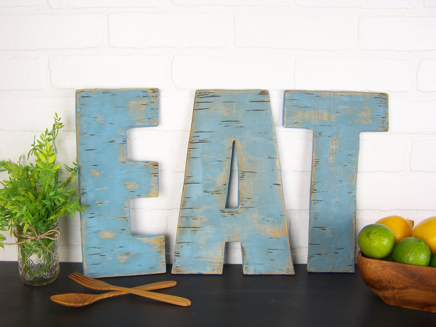 Rustic Eat Sign Wooden Eat Letters Kitchen Sign Farmhouse | Etsy