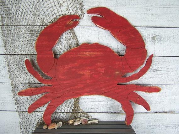 Large Crab Decor Wooden Crab Wall Art Coastal Wood Art Beach | Etsy