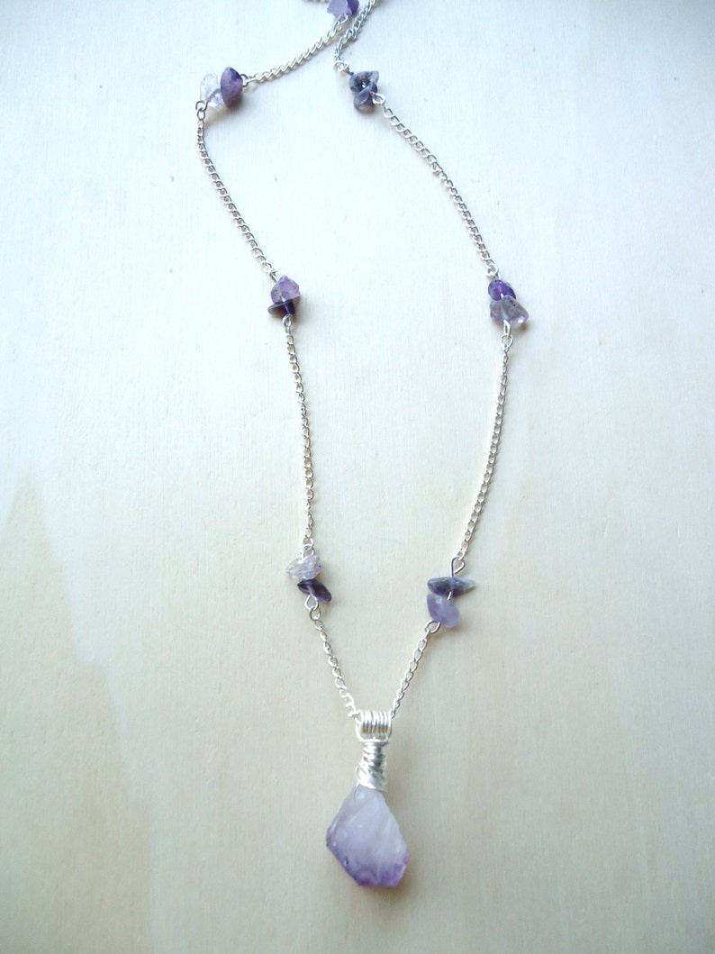 Raw Crystal Pendant OOAK Gifts Beaded Amethyst Necklace Protection Stone Crystal Amulet Healing Jewelry
