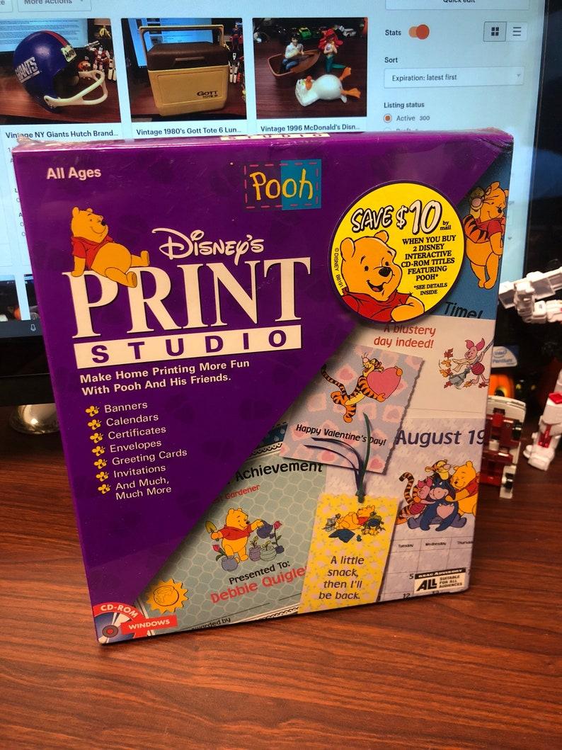Vintage Disney Pooh Print Studio Factory Sealed Big Box PC Software Cd-Rom