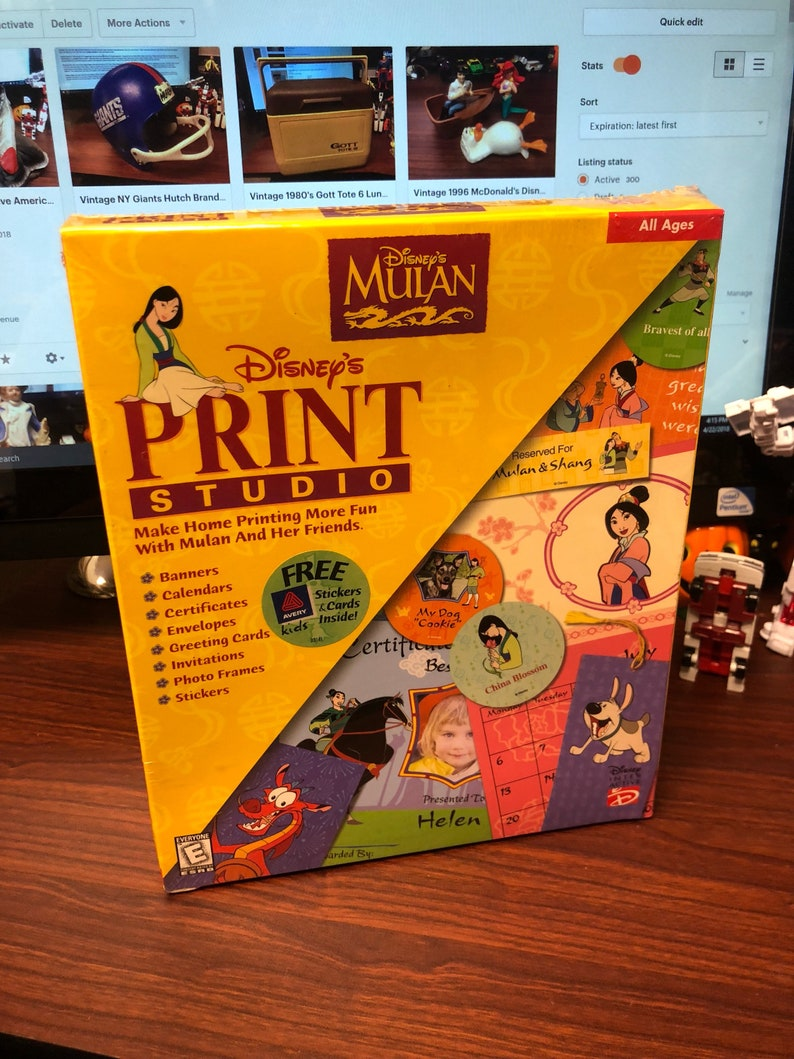 Vintage Disney Mulan Print Studio Factory Sealed Big Box PC Software Cd-Rom