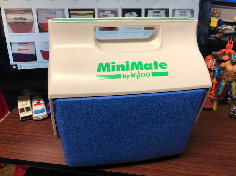 Vintage Minimate Personal Cooler by Igoo Blue Green White