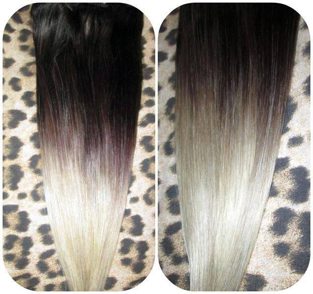 Ombre Balayage Human Invisible Hair Extensions Flip In Wire Etsy