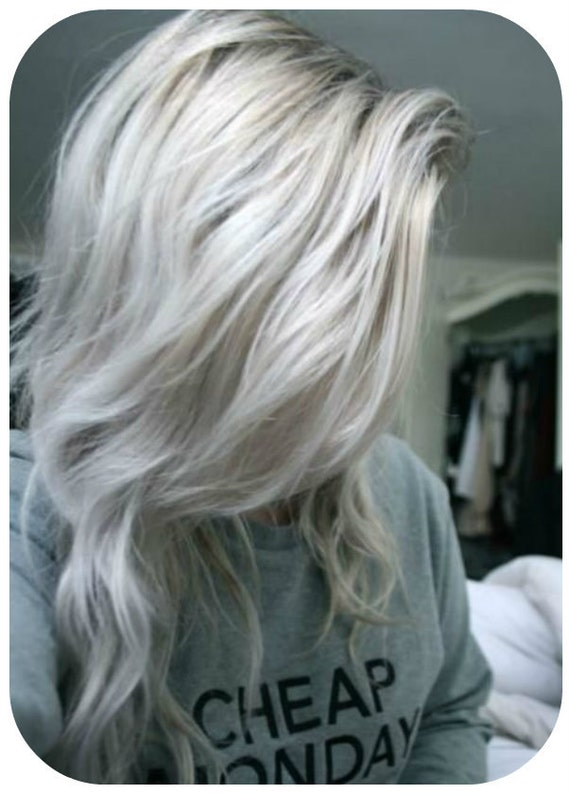 Balayage Dip Dye 8a Remy Ombre Grey Human Clip In Hair Etsy