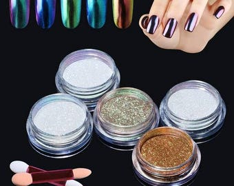 Dip Powder Nails - Metallic Glitter Nail Manicure Powder Pigment - Gold Blue and More! LIMITED STOCK