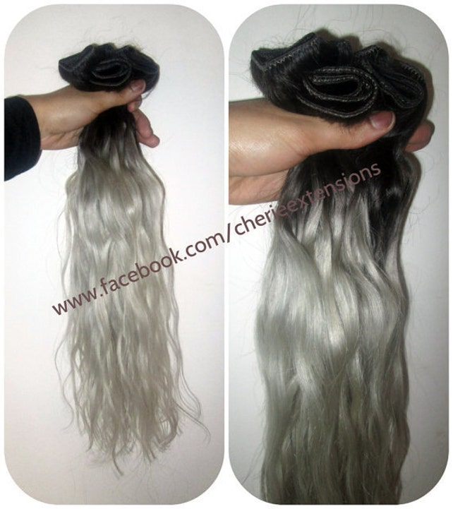 1b Off Black Silver Grey Hair Extensions Dip Dye 8a Remy Ombre Etsy