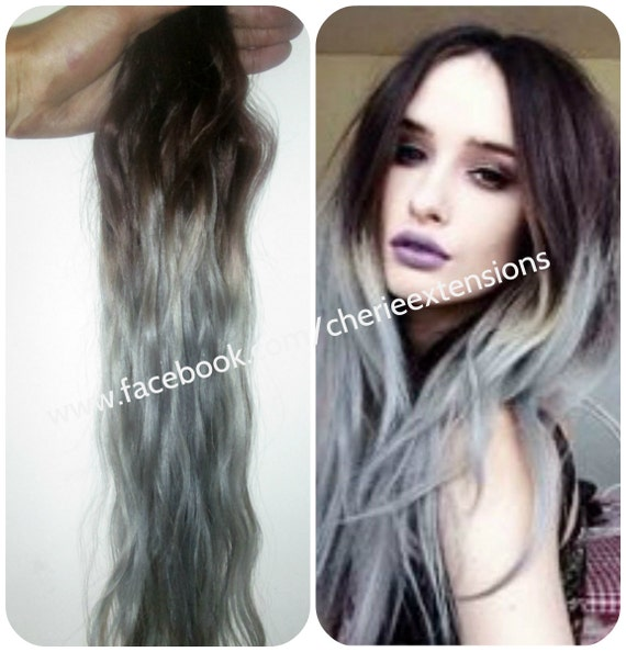 Sale Ombre Balayage Grey Human Weft Weave Hair Extensions Etsy