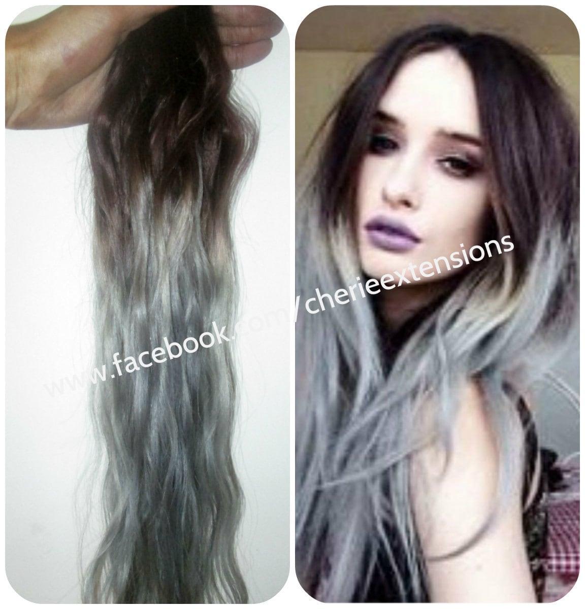 Balayage Dip Dye 8a Remy Grey Human Micro Ring Hair Extensions Etsy