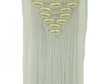 Synthetic Heat Resistant Silver Grey Gray Hair Extensions Clip In