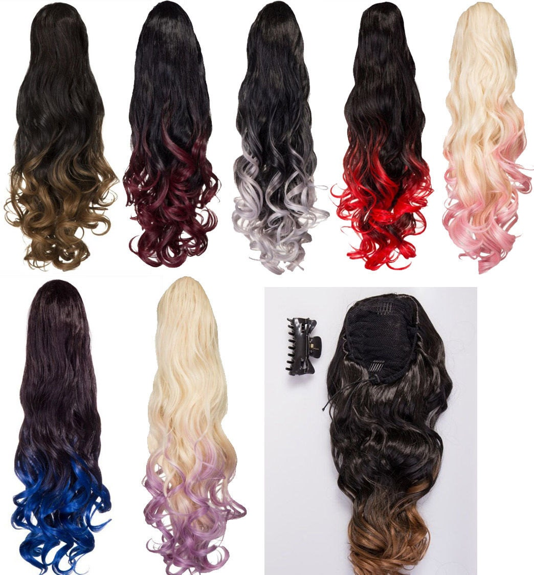 High Heat Synthetic Drawstring Ponytail Hair Extension Ombre Etsy