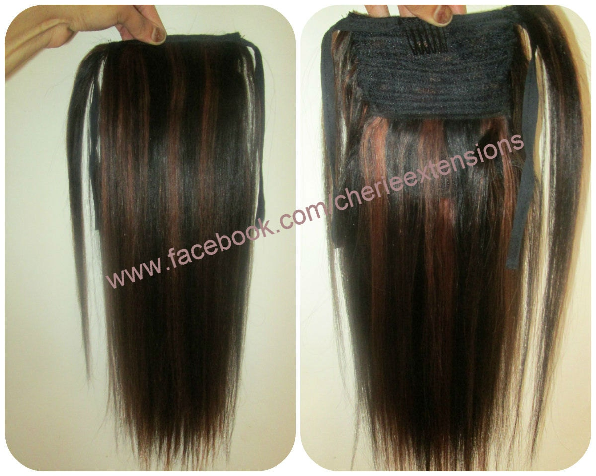 Balayage Dip Dye 8a Remy Human Hair Wrap Around Ponytail Hair Etsy