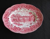 Vintage Meakin Red Transferware Platter Romantic England IGHTHAM MOTE Wall Decor Display Gifts for Her
