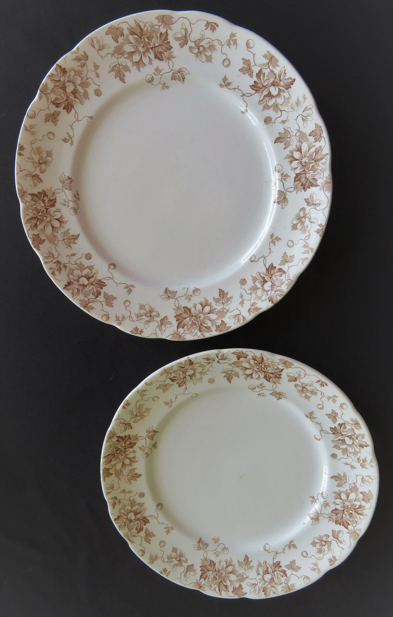 PAIR 2 of Vintage Brown Transferware Plates J.H.W & Sons