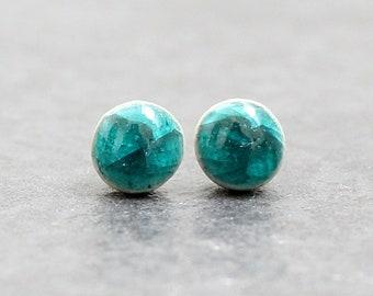 Teal Ceramic Stud Sterling Silver Dainty Stud Earrings