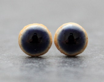 Navy deep blue ceramic stud earrings with Sterling Silver push back closure.  Dainty style that makes a statement!