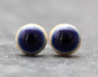 Deep cobalt blue glossy ceramic stud earrings with a sterling silver scroll and push back - NEW SMALL SIZE -Handmade, Round, Jewellery