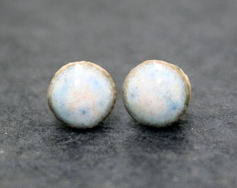 Out of this world blue & white galaxy glaze stud earrings, sterling silver and handmade ceramic