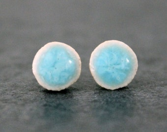 Sky Blue Patterned glossy stud earrings, sterling silver and ceramic