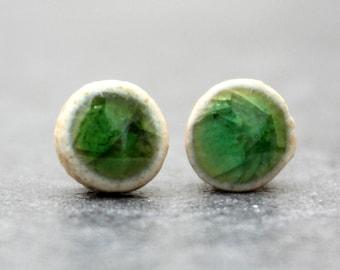 Green crackle pretty ceramic stud sterling silver earrings, dainty jewellery, handmade ceramic, artist made earrings