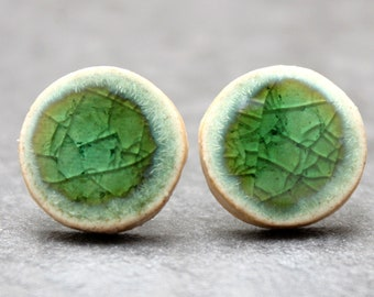 Green 'eye' ceramic stud sterling silver earrings - Unique style that makes a statement!