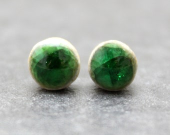 Glossy apple green crackle ceramic stud earrings with Sterling Silver push back closure. Dainty style that makes a BIG statement!