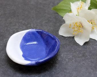 Cobalt & White trinket bowl, handmade ceramic, nautical, stoneware, jewellery holder, ring dish, decorative pot, bowl, decorative pottery