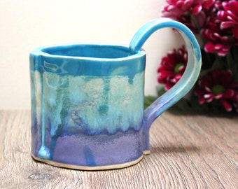 Colourful Mug, Ceramic, Handmade, colourpop, purple, blue, cup, tea, coffee, chocolate, home ware, drink ware, functional, glazed Stoneware