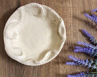 Intricate pretty bowl,  handmade ceramic, fruit bowl, decorative, home decor, textured, cream, centrepiece, country and farmhouse decor