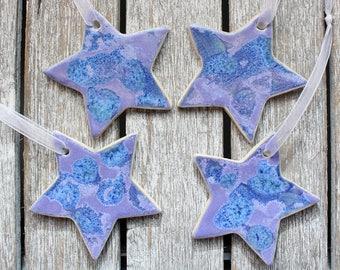 Blue purple pattern stars, Hanging, Ceramic, decorations, star, handmade, home decor, ornament, wedding, Noël, Christmas, glazed stoneware